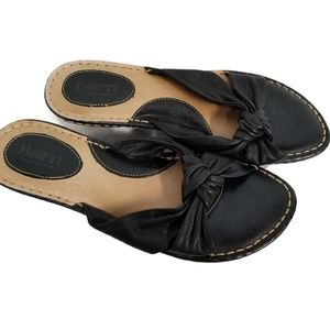 Born Black Leather Knot Slip On Sandals 8